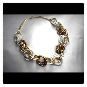Gold and White link statement necklace